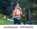 portrait of a woman runner... | Shutterstock . vector #549446533