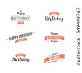 happy birthday typographic set. ... | Shutterstock .eps vector #549449767