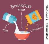 breakfast with milk and...   Shutterstock .eps vector #549449983