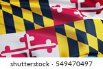 Small photo of Maryland (U.S. state) flag waving against clear blue sky, close up, isolated with clipping path mask alpha channel transparency, perfect for film, news, composition