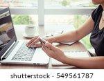 close up of woman hands using... | Shutterstock . vector #549561787