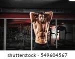 handsome fitness instructor... | Shutterstock . vector #549604567