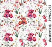 watercolor botanical spring... | Shutterstock . vector #549637093