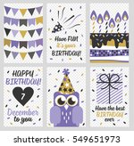 set of 6 cute creative cards... | Shutterstock .eps vector #549651973