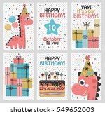set of 6 cute creative cards... | Shutterstock .eps vector #549652003