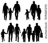 set silhouette of happy family... | Shutterstock .eps vector #549684193
