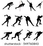 set speed skating skater men... | Shutterstock .eps vector #549760843