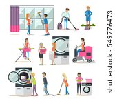set of cleaning people... | Shutterstock . vector #549776473