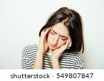 headache woman | Shutterstock . vector #549807847