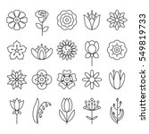 flower icons with outline style ... | Shutterstock . vector #549819733