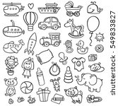 funny baby icons. vector doodle collection of hand drawn icons for baby shower | Shutterstock vector #549833827