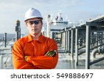 young engineer on the deck of... | Shutterstock . vector #549888697