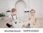 two babies   boy and girl... | Shutterstock . vector #549910303