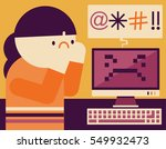 woman gets surprised and scared ... | Shutterstock .eps vector #549932473
