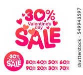 vector picture with hearts.... | Shutterstock .eps vector #549943597