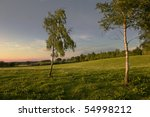 Beautiful Sunset Over A Rural...