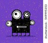 cute black monster with... | Shutterstock .eps vector #549995353