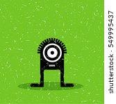 cute black monster with... | Shutterstock .eps vector #549995437