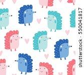 Seamless Cute Hedgehog Pattern...