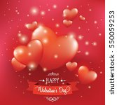 valentines card with realistic... | Shutterstock .eps vector #550059253