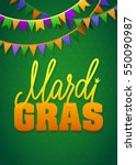 mardi gras party bunting poster.... | Shutterstock .eps vector #550090987
