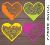 set stencil lacy hearts with... | Shutterstock .eps vector #550114153