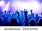 silhouettes of concert crowd in ... | Shutterstock . vector #550119553