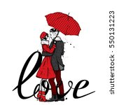 loving couple under an umbrella....