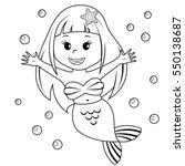 cute little mermaid. black and... | Shutterstock .eps vector #550138687