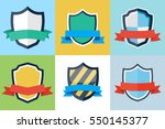 shields and ribbons flat set | Shutterstock .eps vector #550145377