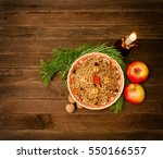 top view of a dish of... | Shutterstock . vector #550166557