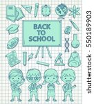 school theme doodle patch icon... | Shutterstock .eps vector #550189903