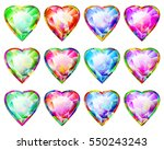 hearts with diamond faceted... | Shutterstock .eps vector #550243243