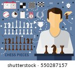 chess pieces concept background.... | Shutterstock .eps vector #550287157
