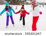 Three Attractive Skater Girl O...