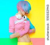 vanilla dj girl vibration.... | Shutterstock . vector #550332943
