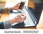 businesswomen working in wooden ... | Shutterstock . vector #550342567