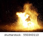 fire show in the night at beach ...   Shutterstock . vector #550343113