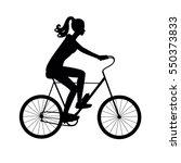 Black Silhouette Girl On A Bik...