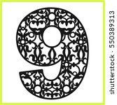 laser cut vector number nine.... | Shutterstock .eps vector #550389313