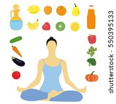 healthy lifestyle diet. healthy ... | Shutterstock .eps vector #550395133