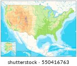 detailed relief map of usa. no... | Shutterstock .eps vector #550416763