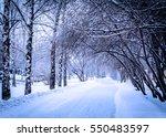 snow street in winter | Shutterstock . vector #550483597