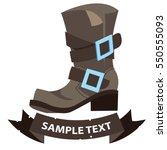 old men's boots with ribbon... | Shutterstock .eps vector #550555093