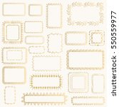 set of hand drawn golden frames.
