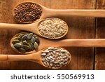 food ingredients in wooden... | Shutterstock . vector #550569913