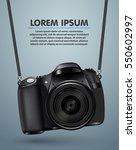 hanging realistic photo camera. ... | Shutterstock .eps vector #550602997