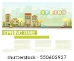 hello spring cityscape... | Shutterstock .eps vector #550603927