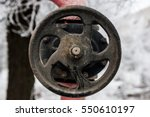Small photo of Gas main. Gas valve, vintage piping in rust.
