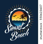 sunset beach typography  t...
